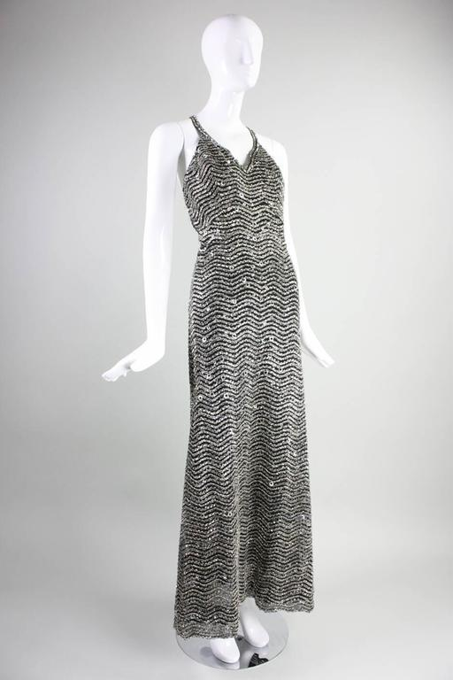 1970's Galanos Black and Silver Beaded Gown 2