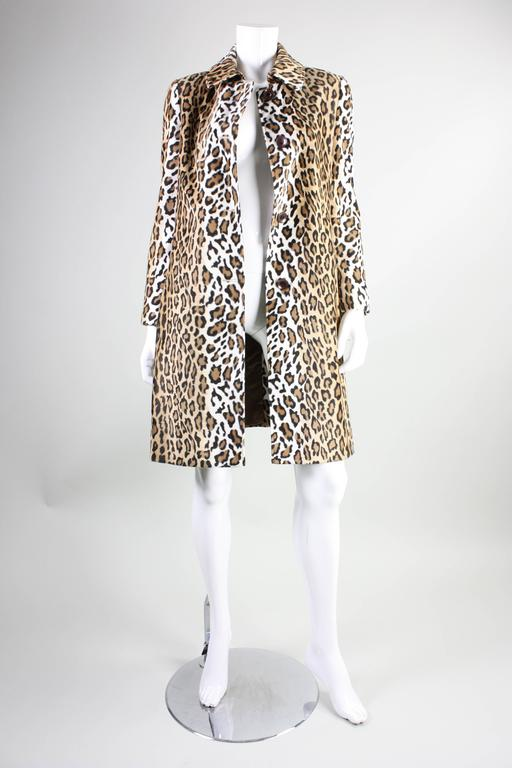 Beige Moschino Faux Leopard Coat, 1990s  For Sale