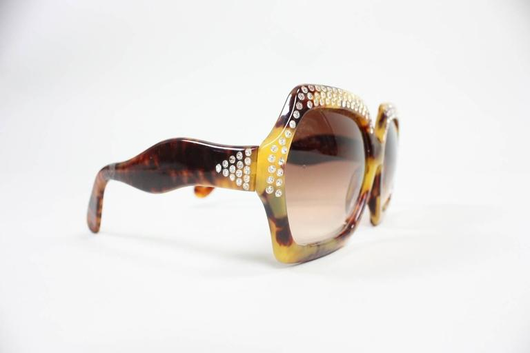 Oversized Faux Tortoise Shell Sunglasses with Rhinestones 2