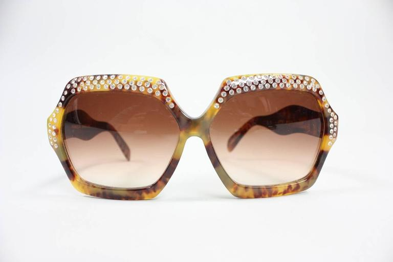 Oversized Faux Tortoise Shell Sunglasses with Rhinestones 3