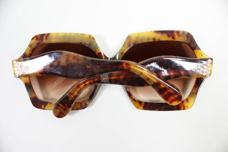 Oversized Faux Tortoise Shell Sunglasses with Rhinestones 4