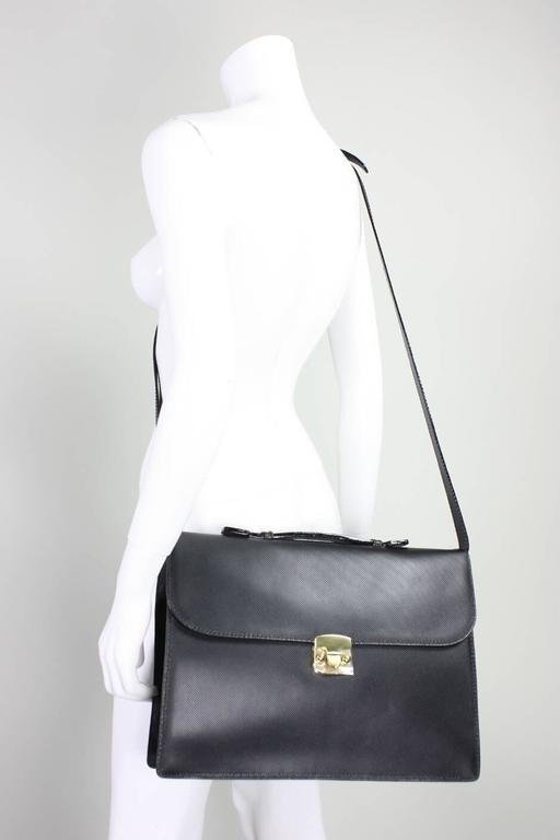 Bottega Veneta Black Leather Briefcase, 1990s  In New never worn Condition For Sale In Los Angeles, CA