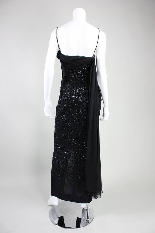 1950's Frank Starr Black Sequined Gown For Sale 2