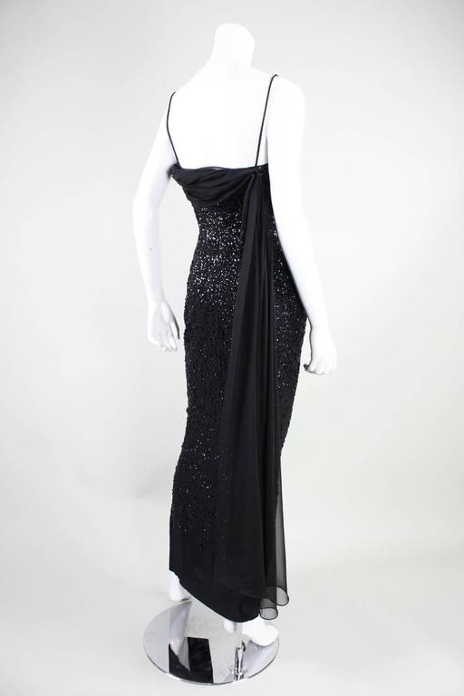 1950's Frank Starr Black Sequined Gown 5