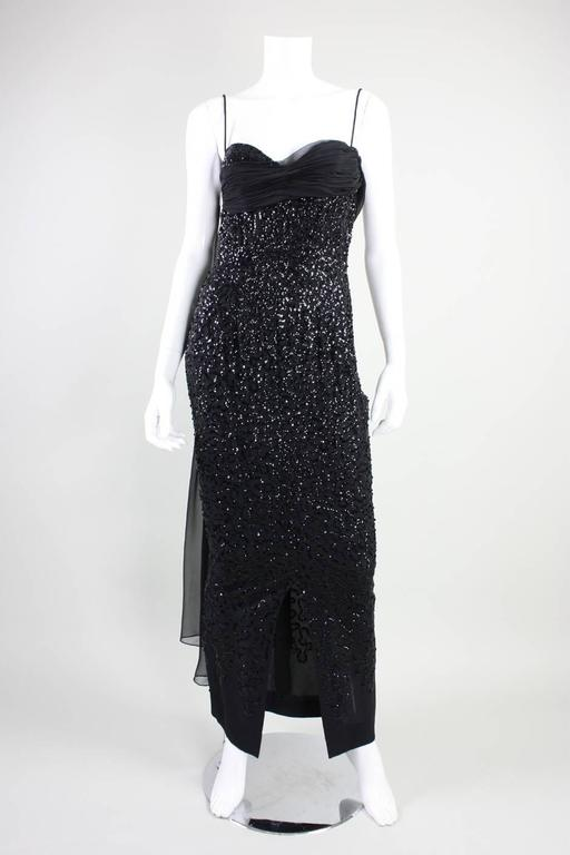 Women's 1950's Frank Starr Black Sequined Gown For Sale