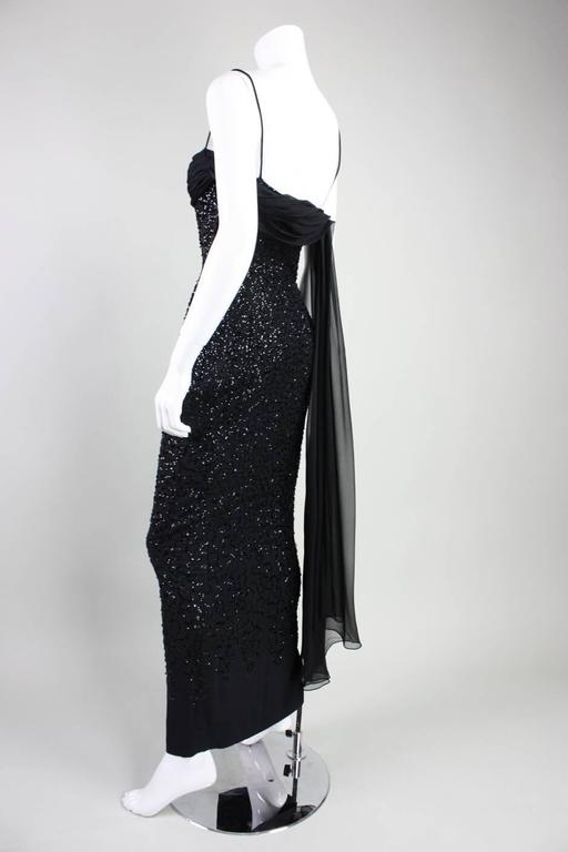 1950's Frank Starr Black Sequined Gown 7