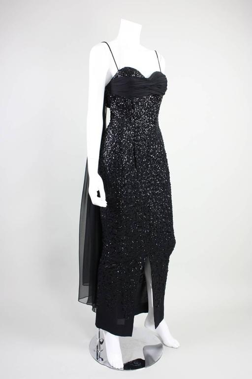 1950's Frank Starr Black Sequined Gown 3