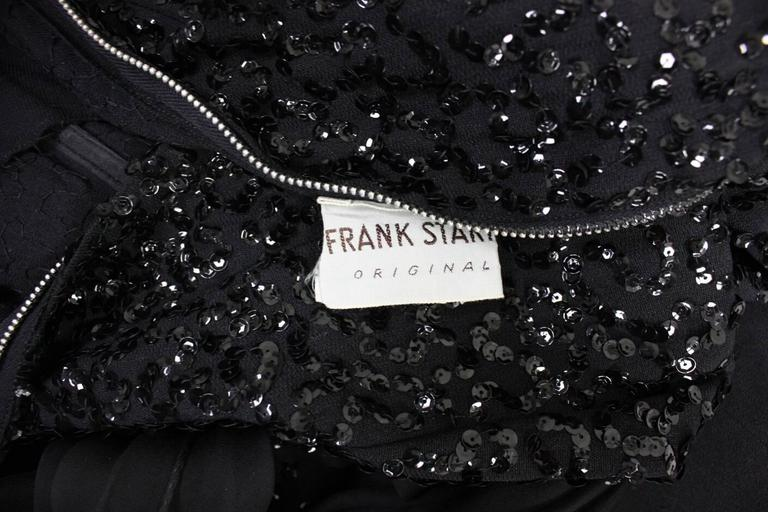 1950's Frank Starr Black Sequined Gown For Sale 5