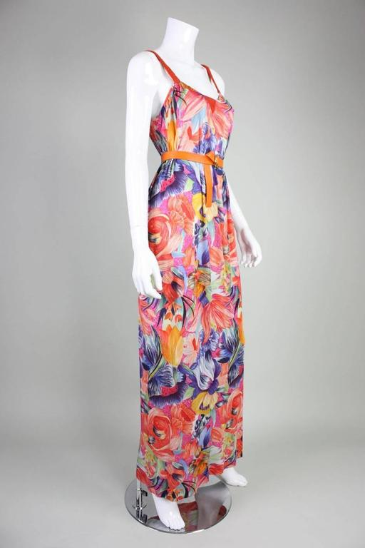 Brown 1970's Missoni Silk Jersey Floral Gown For Sale