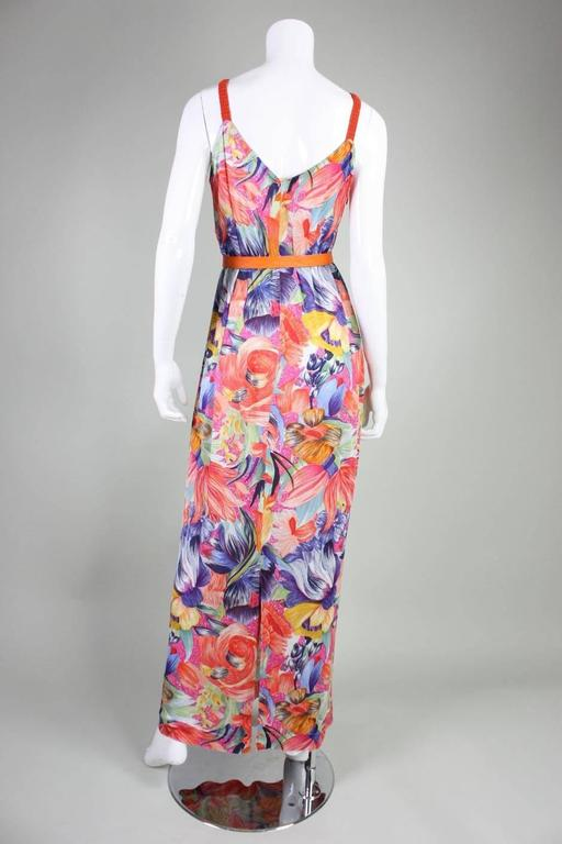 Women's 1970's Missoni Silk Jersey Floral Gown For Sale