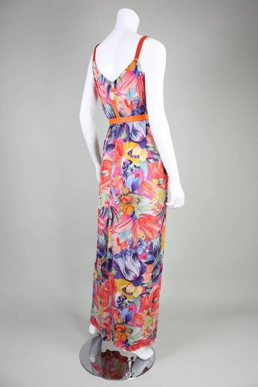1970's Missoni Silk Jersey Floral Gown In Excellent Condition For Sale In Los Angeles, CA