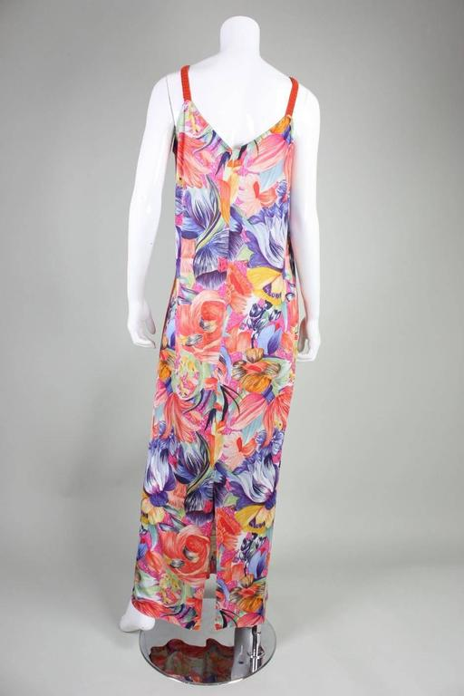 1970's Missoni Silk Jersey Floral Gown For Sale 3