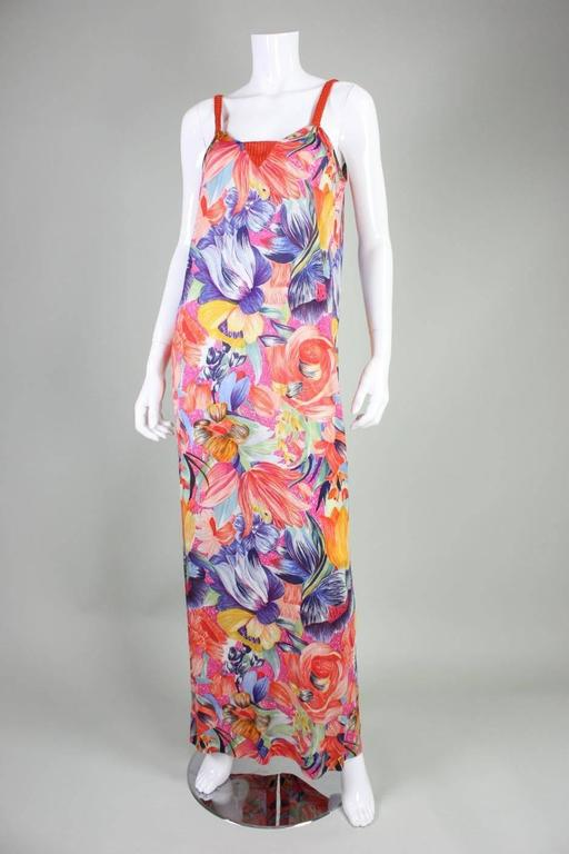 1970's Missoni Silk Jersey Floral Gown For Sale 2