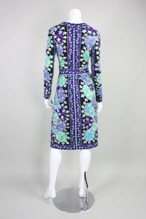 1970's Pucci Cashmere Blend Printed Dress For Sale 1
