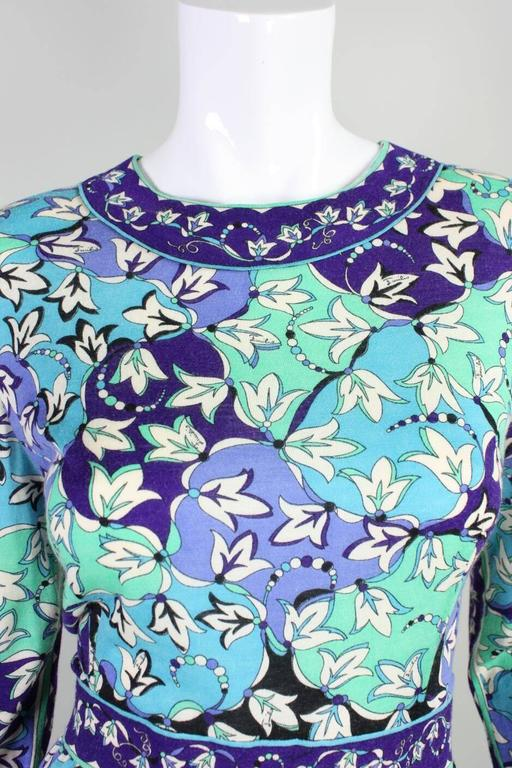 1970's Pucci Cashmere Blend Printed Dress For Sale 2