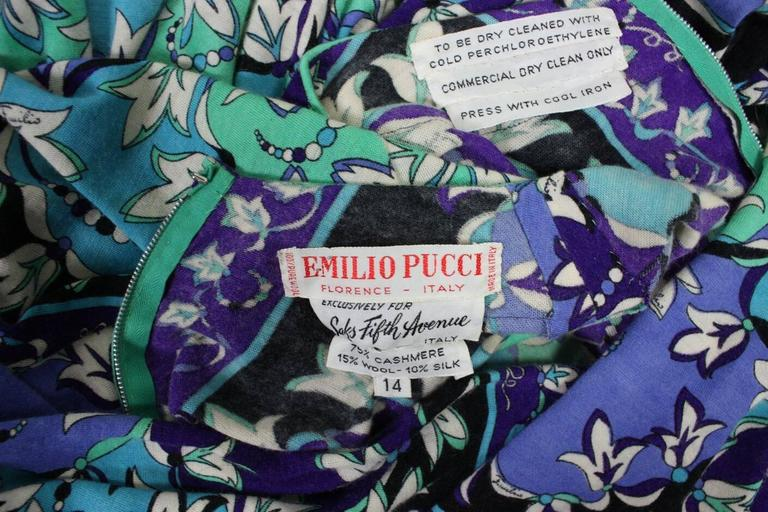 1970's Pucci Cashmere Blend Printed Dress For Sale 4