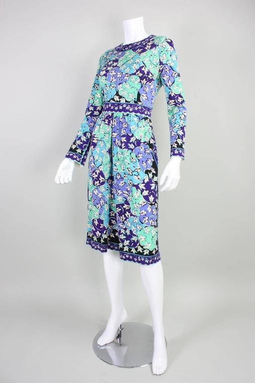 1970's Pucci Cashmere Blend Printed Dress In Excellent Condition For Sale In Los Angeles, CA