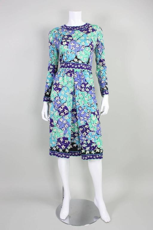 Blue 1970's Pucci Cashmere Blend Printed Dress For Sale