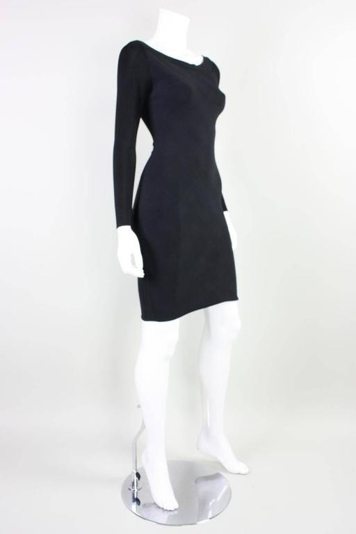 Black  Herve Leger Body-Con Houndstooth Dress, 1990s  For Sale