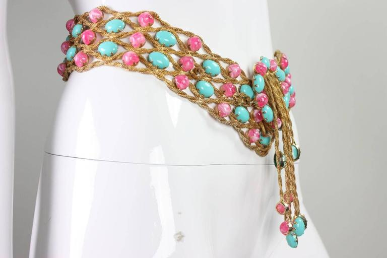1960's Kenneth Jay Lane Bejeweled Belt In Excellent Condition For Sale In Los Angeles, CA