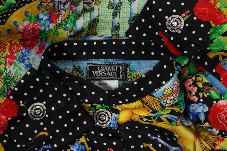 1990's Gianni Versace Silk Charmeuse Blouse For Sale 3