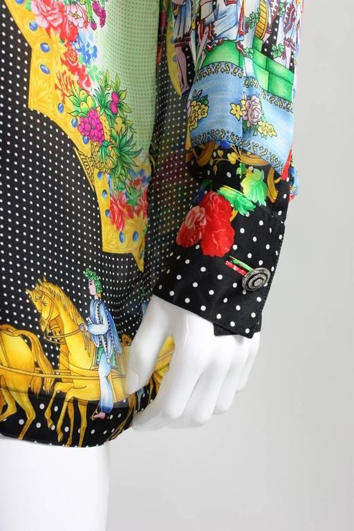 1990's Gianni Versace Silk Charmeuse Blouse For Sale 2
