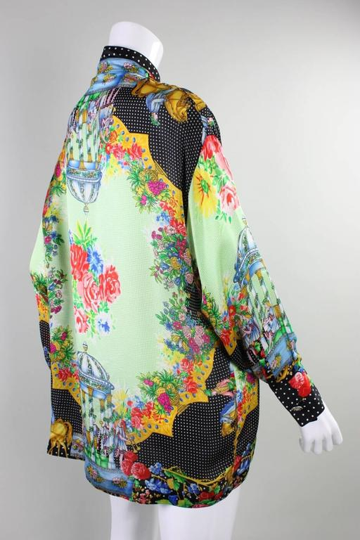 Beige 1990's Gianni Versace Silk Charmeuse Blouse For Sale