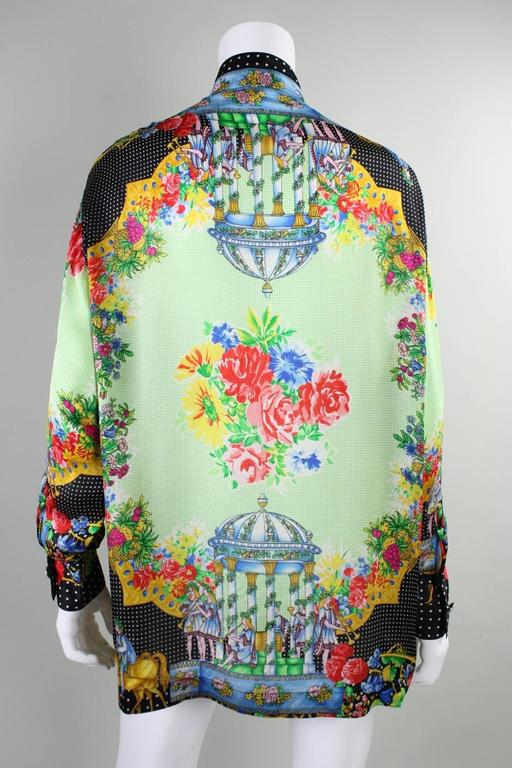 1990's Gianni Versace Silk Charmeuse Blouse In Excellent Condition For Sale In Los Angeles, CA