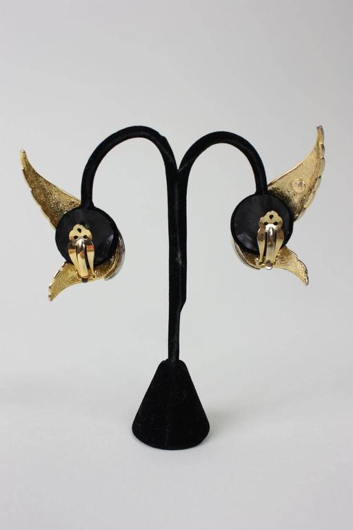 1980's Butler & Wilson Gold-Toned Wing Earrings 4