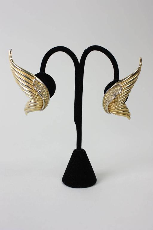 1980's Butler & Wilson Gold-Toned Wing Earrings 2