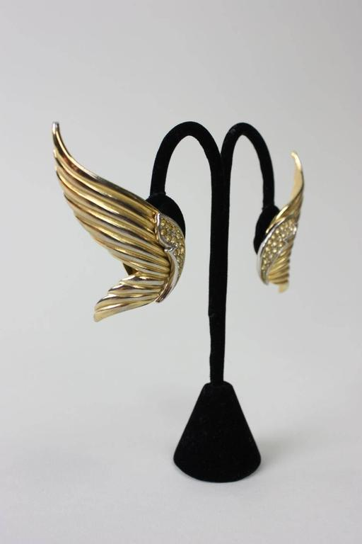 1980's Butler & Wilson Gold-Toned Wing Earrings 3