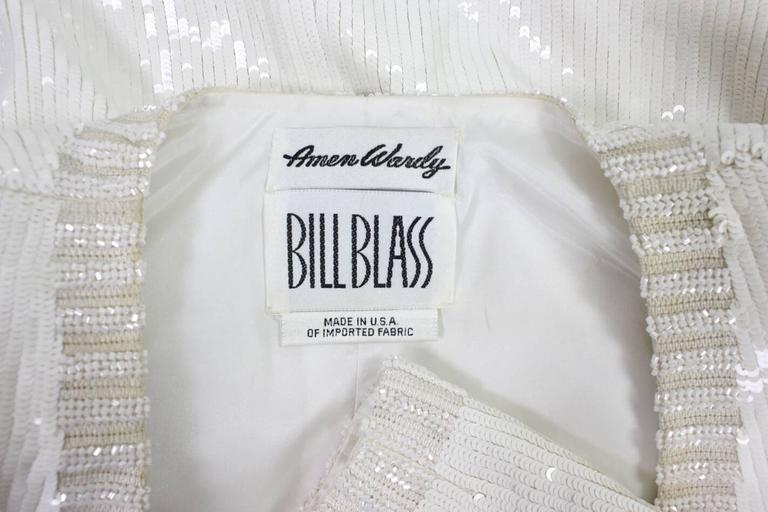 1980's Bill Blass White Sequined Jacket For Sale 3