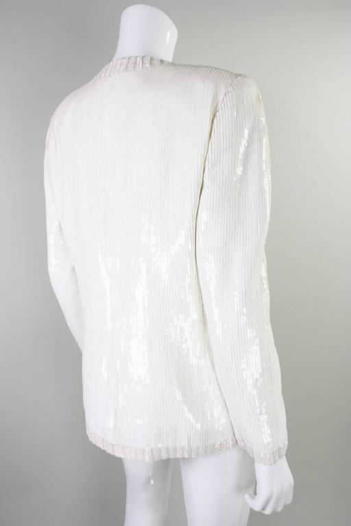 Gray 1980's Bill Blass White Sequined Jacket For Sale