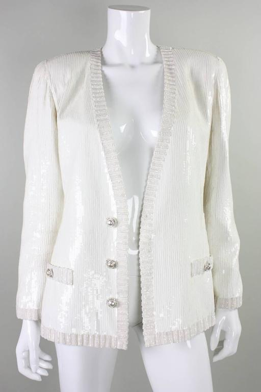 Women's 1980's Bill Blass White Sequined Jacket For Sale