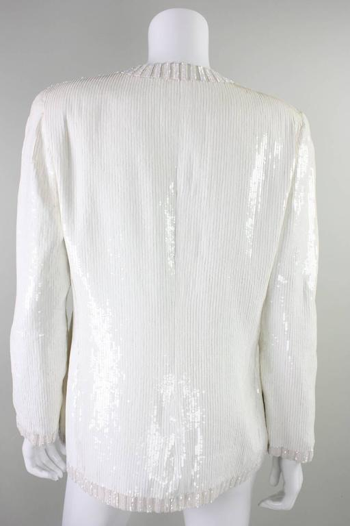 1980's Bill Blass White Sequined Jacket In Excellent Condition For Sale In Los Angeles, CA