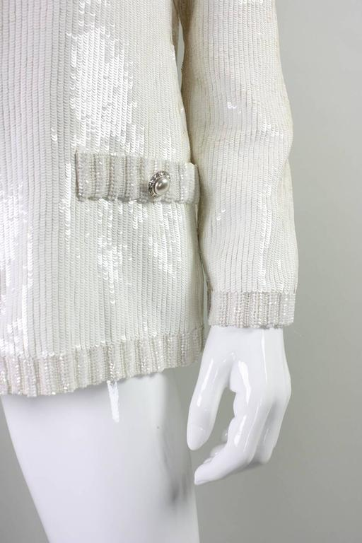 1980's Bill Blass White Sequined Jacket For Sale 2