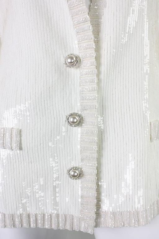1980's Bill Blass White Sequined Jacket For Sale 1