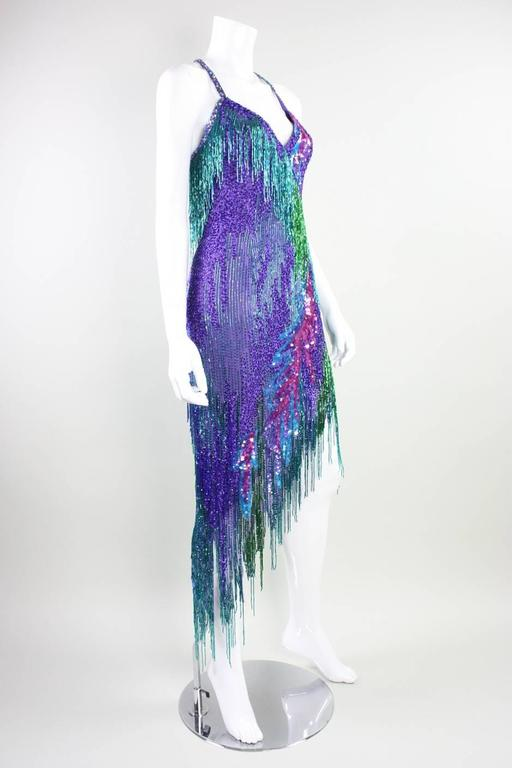 Bob Mackie 1980's Beaded Cocktail Dress In Excellent Condition For Sale In Los Angeles, CA
