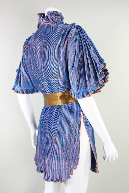 Gray Zandra Rhodes Pleated & Silkscreened Jacket For Sale