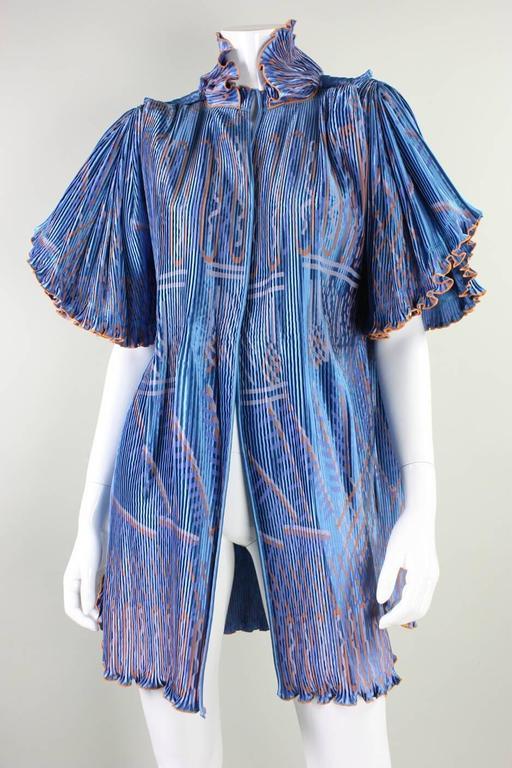 Women's Zandra Rhodes Pleated & Silkscreened Jacket For Sale
