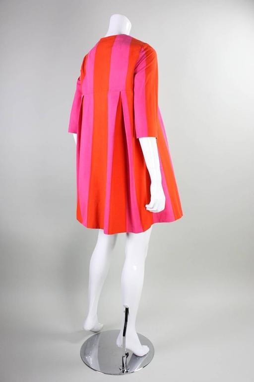 Red 1960's Marimekko Striped Mini Dress with Sash For Sale