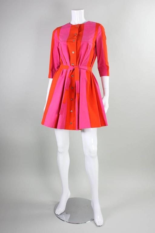 Women's 1960's Marimekko Striped Mini Dress with Sash For Sale