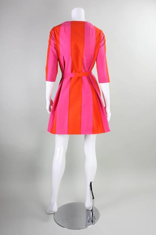 1960's Marimekko Striped Mini Dress with Sash For Sale 1