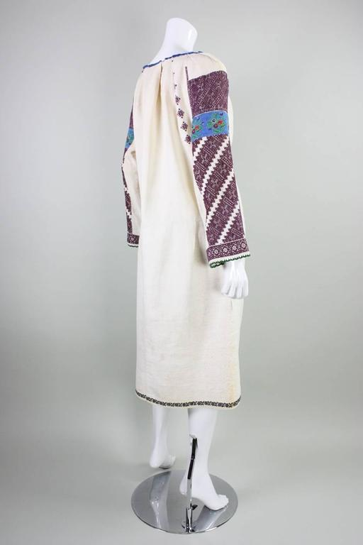 Gray Vintage Eastern European Hand Embroidered Linen Dress For Sale