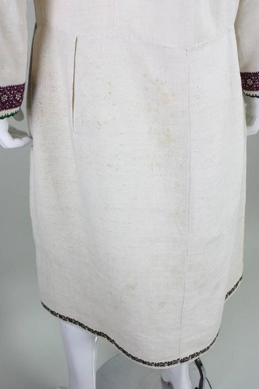 Vintage Eastern European Hand Embroidered Linen Dress For Sale 3