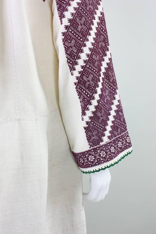 Vintage Eastern European Hand Embroidered Linen Dress For Sale 2