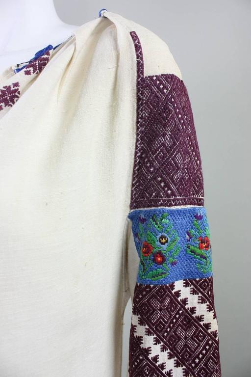 Vintage Eastern European Hand Embroidered Linen Dress For Sale 1