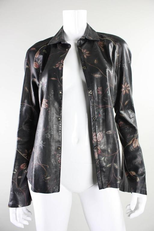 Roberto Cavalli Leather Blouse or Jacket with Gold Stitching 7