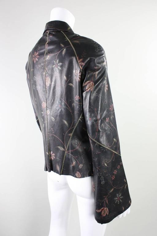 Black Roberto Cavalli Leather Blouse or Jacket with Gold Stitching For Sale
