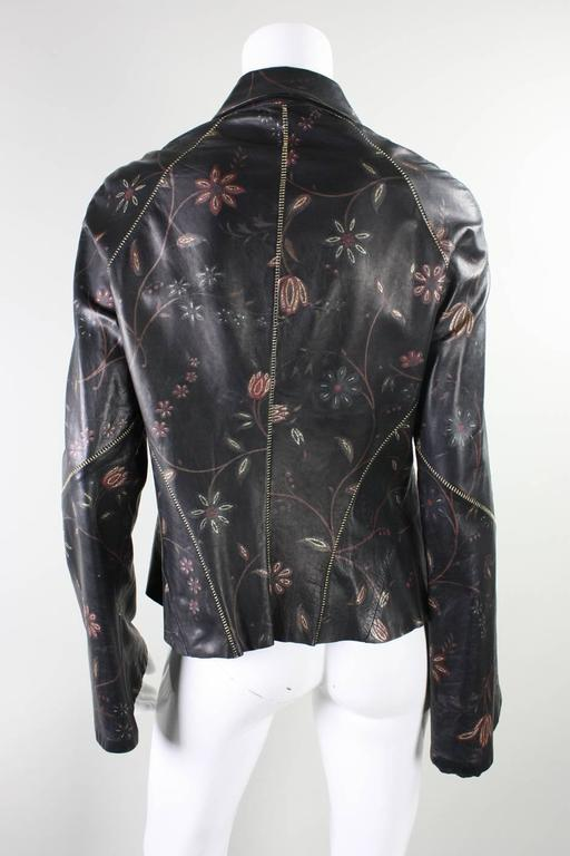 Roberto Cavalli Leather Blouse or Jacket with Gold Stitching In Excellent Condition For Sale In Los Angeles, CA